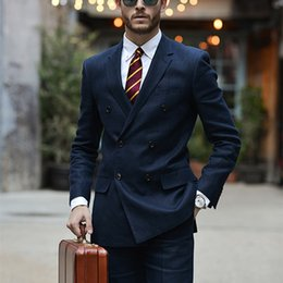 Men Sky Blue Pants Canada - Custom Made Navy Blue Double Breasted Men Suit 2Pieces(Jacket+Pants+Tie) Custom Made Slim Fit Classic Stylish Tuxedo Blazer