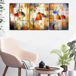 butterfly oil canvas NZ - Large 3 Panel HD Print Ballet Butterfly Spot Poster Rose Oil Painting Home Wall Art Picture On Canvas For Living Room Decorative