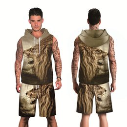 6b6c792657d4 New Spring Fashion 3D Printed Lion Men s Leisure Suit sleeveless hoodie  tops and shorts sweater suit