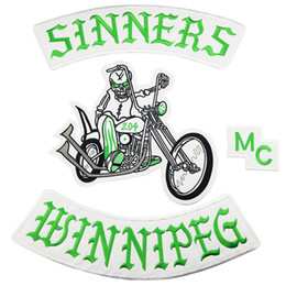 motorcycle jacket vest NZ - NEW ARRIVAL MC SINNERS EMBROIDERY PATCH MOTORCYCLE CLUB VEST OUTLAW BIKER MC JACKET PUNK IRON ON PATCH FREE SHIPPING