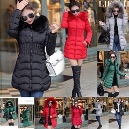 Womens Parkas Australia - Womens Hooded Warm Jacket Ladies Fur Down Winter Quilted Long Parka Coat Jacket