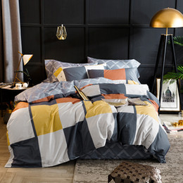 Colorful Modern Bedding NZ - Dropshipping Egyptian cotton colorful plaid Sheet Pillowcase Duvet cover sets 4pcs bedclothes set bedding sets