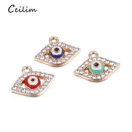 Discount wholesale jewelry evil eye connectors - Lucky Turkish Blue Glass Evil Eye Charms 17*10mm Connectors Trendy Hanging Charms Car Office Wall Home Decoration For Je