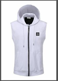 cheap sports vests UK - Sleeveless men's hooded coat coat fashion designer vest cheap cardigan sports vest on clothes wholesale M-3XL 378#