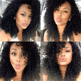 Kinky Peruvian Lace Wig Australia - Peruvian Virgin Hair Kinky Curly Glueless 150% Density Lace Front Human Hair Wigs For Black Women Full Lace Wigs Glueless Bleached Knots