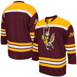 Minnesota Golden Gophers Maroon K1 колледж хоккей Джерси вышивка сшитые настроить любое количество и имя трикотажные изделия