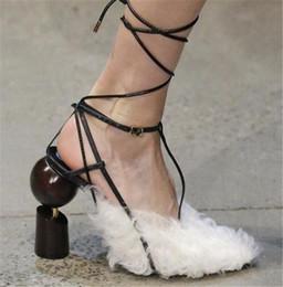 New Design Women Fashion Suede Leather Ball Screws Chunk Heel Pumps Lace-up Strange  Heel Strap Cross High Heels Dress Shoes Wedding Shoes e260fa1e231b