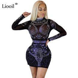 44086bf677 Liooil vestido de cristal de las mujeres de manga larga Bodycon See Mesh  Dress Diamantes de albaricoque de vino negro Diamonds Sexy Club vestidos de  fiesta