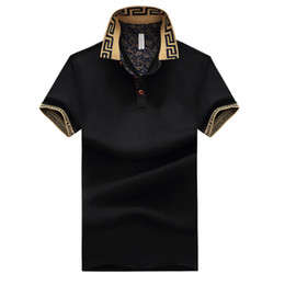 Wholesale black white collared top resale online - Mens Luxury Designer Shirts Male Summer Turn Down Collar Short Sleeves Cotton Shirt Men Casual Tops