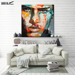 Bar Paintings Australia - Death Stare Palette Knife Figure Picture Abstract Hand Painted Oil Painting on Canvas Wall Decoration for Bar Home Dinning Room