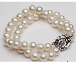 Pearl Double Strand UK - double strands 9-10mm round south sea white pearl bracelet 7.5-8inch 925 silver