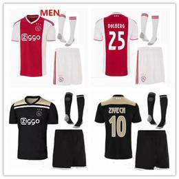 2831cfcacd2 2018 2019 Ajax FC adult VAN DE BEEK kit home soccer jersey with socks 18 19  NOURI DOLBERG ZIYECH HUNTELAAR away uniform Football Shirts