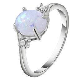 $enCountryForm.capitalKeyWord Australia - Simple Opal Ring For Women White Gold Filled New Fashion Claw Bead Design Bridal Wedding And Engagement Ring Love Promise Rings