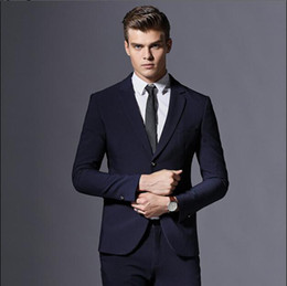 Wholesale Elegant Style Trim Fit Business Designer Formal Suits Black Professional Notched Lapel Two Buttons Tuxedos Groom Wedding Clothing Set