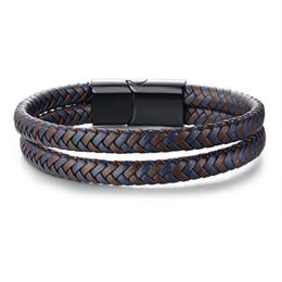 Опт Новый дизайн мужской плетеный кожаный браслет Браслет из нержавеющей стали магнитная застежка 21 см