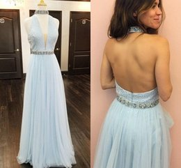 Wholesale 2019 Baby Blue Halter Tulle Prom Dresses Beaded Crystal Tulle Floor Length Backless Prom Dresses With High Neck Blush Pink Party Dresses