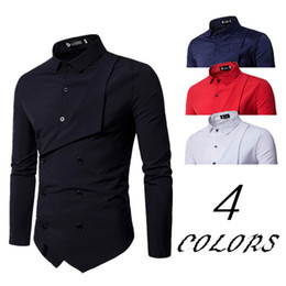 Double Shirt Designs Canada - TOLVXHP 2018 hot men's personality double-breasted fake two long-sleeved shirt exclusive top design casual shirt SIZE M-XXL ZHAN