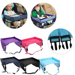 Discount toddler safety belt - 5 Color Baby Toddlers Car Safety Belt Travel Play Tray waterproof folding table Baby Car Seat Cover Harness Buggy Pushch