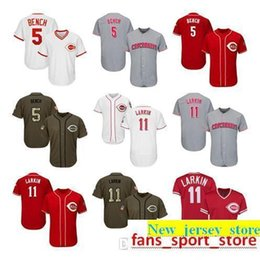 47ea88b51 2019 Men Women Youth Reds Jerseys 5 Bench 11 Larkin Baseball Jersey White  Gray Grey Red Green Salute to Service Players Weekend All Star