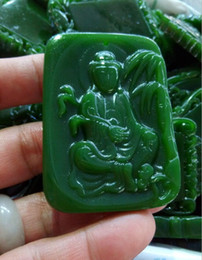 Jade Angel Pendants Australia - Natural green jade guanyin peace luck pendant free delivery A2