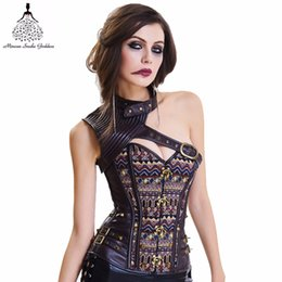 bodysuit gothic Australia - Corset Bustier Gothic Clothing steampunk corset Bodysuit Women Clothing Armor Bustier With Shoulder Bolero Steel Boned Corset