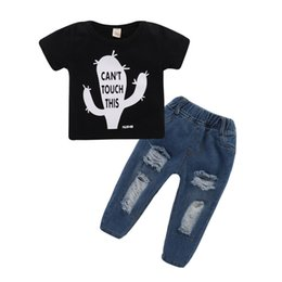 boys printed jeans NZ - Mikrdoo Kids Baby Boys Clothes Set Black Short Sleeve Cartoon Printing T-Shirt Top + Ripped Holes Jean Pant Summer Fashion 2PCS Outfit