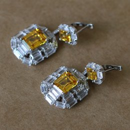 yellow cz earrings Canada - Luxury Yellow Pink Love Lock Earrings Silver Color Antique Women Drop Dangle Earrings For Women CZ Crystal Rhinestone Jewelry