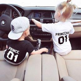 Prince Tee Shirts NZ - Fashion Design lovely baby tee shirt short sleeve black white prince princess print kids T-shirt plus size
