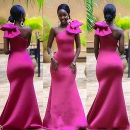 $enCountryForm.capitalKeyWord NZ - Mermaid Bridesmaid Dress One Shoulder Bow Knot Stain Floor Length Maid Of Honor Dress Saudi African Dubai Pageant Dress For Wedding Guest
