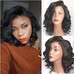 blonde human hair wigs short wavy 2019 - 100% Human Hair Full Lace Deep Wave Wigs Glueless Short Bob Wavy Wig Front Lace Virgin Hair Wigs for Women African Ameri