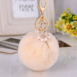 $enCountryForm.capitalKeyWord Australia - Gold Key Chain Pom Pom Key Rings Fake Rabbit Fur Ball KeyChain Pompom Angel Girl Fourrure Pompon Women Bag Charms Jewelry
