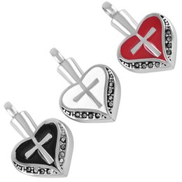 Ash holder online shopping - IJD8098 Cross on Heart Cremation Pendant Pet or Person Memorial Ash Holder Mini Urn Locket Cremation Jewelry for Ashes