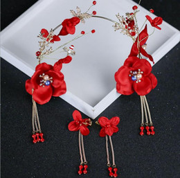 Gray Hair Red NZ - Red hair band headwear, bridal hairpin earrings set up factory direct sale 2018 new style ancient costume shooting headwearCostume Red bride