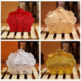 laser cut wedding favours box 2019 - Laser Cut Hollow Lace Flower White Gold Red Candy Box Wedding Party Sweets Candy Gift Favour Favors Boxes
