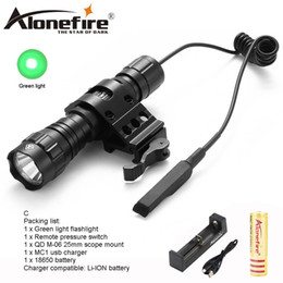 Green Hunting Flashlights NZ - AloneFire CREE 501Bs Green Light LED Tactical Flashlight Torch Pressure Switch Tactical Mount Hunting Light Lamp for Camping lighting
