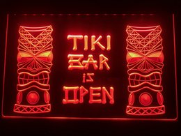 Tiki Lights Australia - I573b- Tiki Bar is OPEN Mask Display NR LED Neon Light Sign