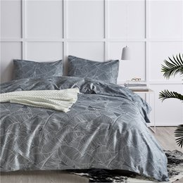 modern european style beds NZ - Gray European Leaf Pattern Polyester Fiber Bedding Sets 2 3Pcs Bed Linings Duvet Cover Pillowcases Cover Set USA Queen King Size