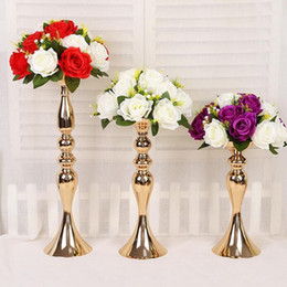 Led Votive Candles Wholesale Canada - Silver and Gold Metal Candle Holder Iron Candlestick Wedding Props Road Lead Vase Home Decoration Flower Stands 32 38 50cm