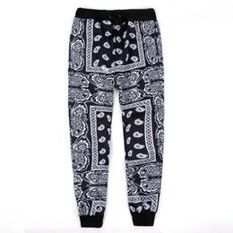 Wholesale pantalones hip hop hombre resale online – Black Red Mens Joggers Sweatpants Swag Pantalones Hombre Bandana Joggers Mens Pants Hip Hop Women Trousers Streetwear Unisex M XL
