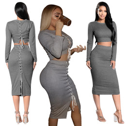 71348258fe38 Set (2pcs) Autumn Women Bandage Suit Long Sleeve Fleece Crop Top Pencil  Midi Skirt Solid Bodycon Dress Sweater Tracksuit Strap Two Pieces