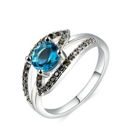 Wholesale Fashion jewelry ring female platinum electroplated blue diamond coffee colored zircon