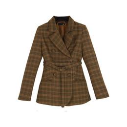$enCountryForm.capitalKeyWord UK - Women's spring and autumn black double-breasted suit jacket female belt long section of women's coat Suit coat Women Blazer L18101303