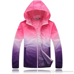 Water Proof Coatings NZ - Wholesale- New Spring jacket casual women water proof hooded jackets gradient color sun protection ladies coat KM1354