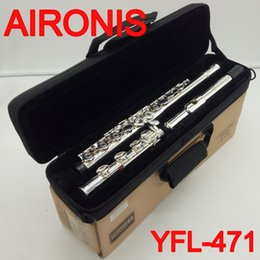 keyed flute 2019 - New AIRONIS Good Quality Professional Flute YFL-471 16 17 Holes Closed Open Hole E Key Intermediate Standard Silver Plat
