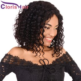 brazilian deep curly human hair short 2018 - Deep Wave Bob Wigs Pre Plucked Peruvian Short Human Pixie Lace Front Hair Wigs For Black Women Unprocessed Curly Perruqu
