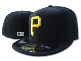Discount pirates logos - Classic Men's Pirates on field fitted hat black color flat Brim embroiered gold p letter logo fans baseball Hat pir