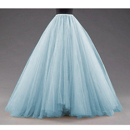 Discount make tutu skirt for women - Sky Blue Puffy Long Tulle Skirts Women Vintage Gold Female Tutu Skirt For Bridal Photoshoots Custom Made Christmas Saias