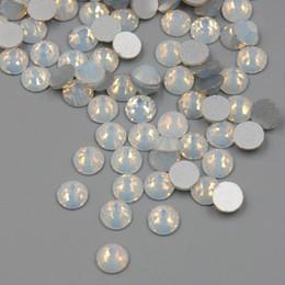 Alta qualità SS3-SS30 bianco opale colore 1440PCS 3D nail art posteriore piana non hot fix strass non hotfix cristalli di vetro di pietra in Offerta