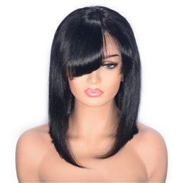 $enCountryForm.capitalKeyWord Australia - Brazilian Straight Hair Lace Front Wigs with Bang 10 inch Human Hair Wigs Swiss Lace Ping