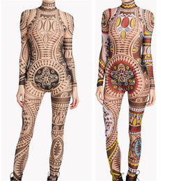 fe800655557995 TaTToo bodysuiT online shopping - Plus Size Women Tribal Tattoo Print Mesh  Jumpsuit Romper Curvy African